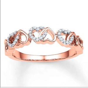 Heart Ring Diamonds 10K Rose Gold Size 5